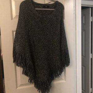 Knit pull over poncho sweater